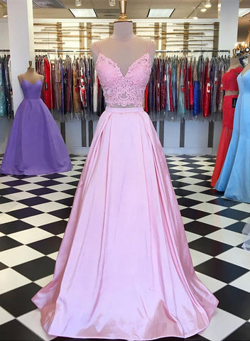 Pink two pieces lace long prom dress, pink evening dress