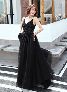 Black v neck tulle sequins long prom dress, evening dress
