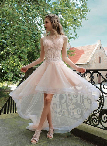 Light pink lace tulle high low prom dress, homecoming dress