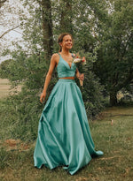 Green two pieces satin long prom dress, evening dress
