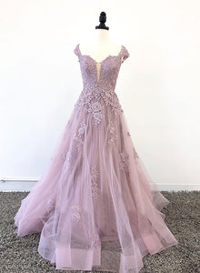 Custom made tulle lace long prom dress, evening dress