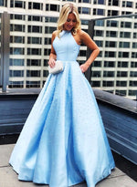 Blue round neck satin pearl long prom dress, blue evening dress