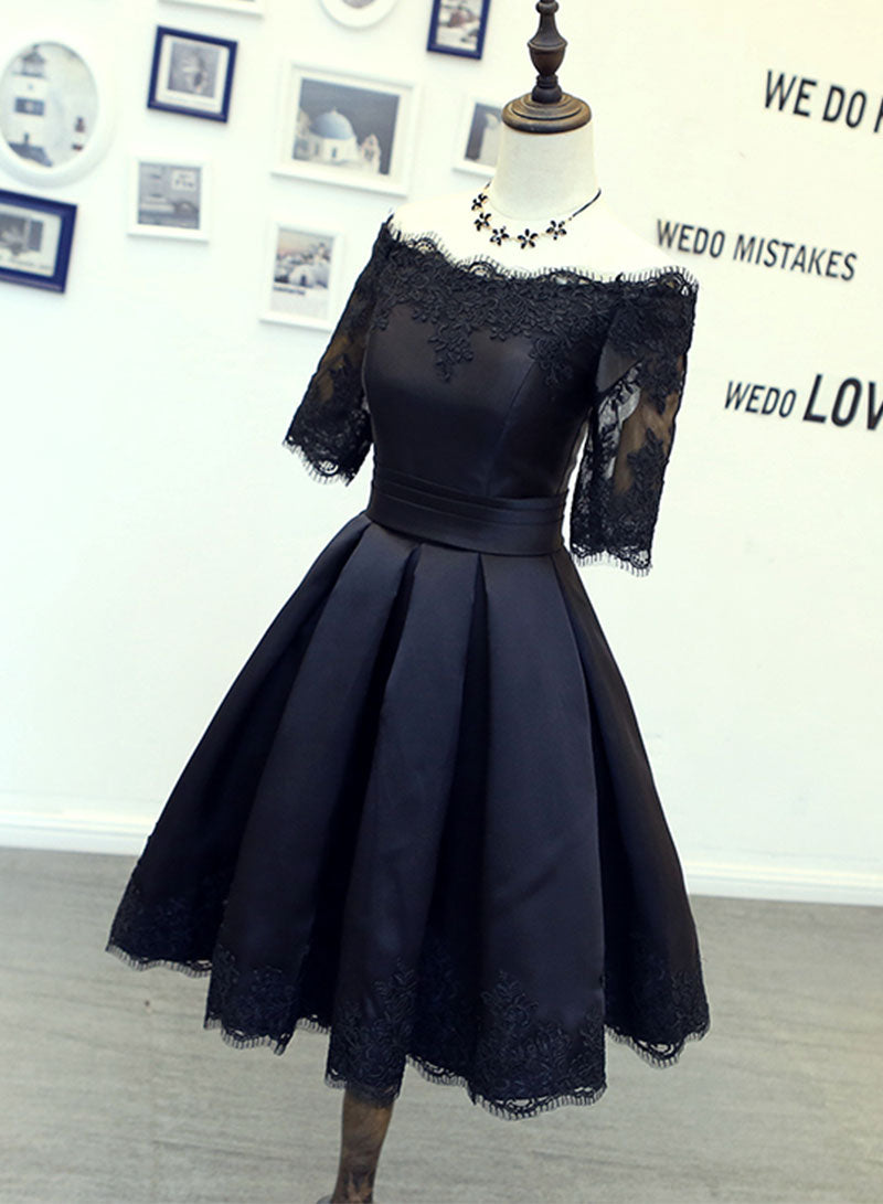 Black lace satin short prom dress, homecoming dress