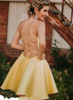 Yellow v neck short A line prom dress, homecoming dress