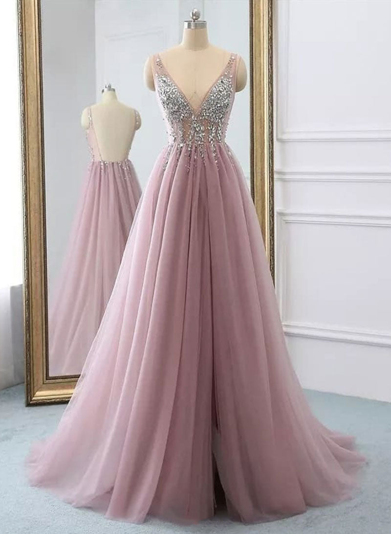 Pink v neck tulle beads long prom dress, evening dress