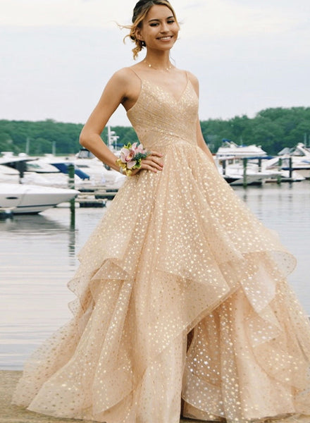 Champagne v neck tulle long prom dress, evening dress