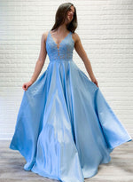 Blue v neck lace satin long prom dress, blue evening dress