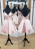 Pink v neck satin short prom dress, homecoming dress