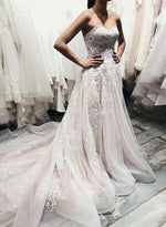 Stylish sweetheart neck tulle lace long prom dress, evening dress
