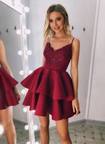 Burgundy v neck lace satin short prom dress, homecoming dress