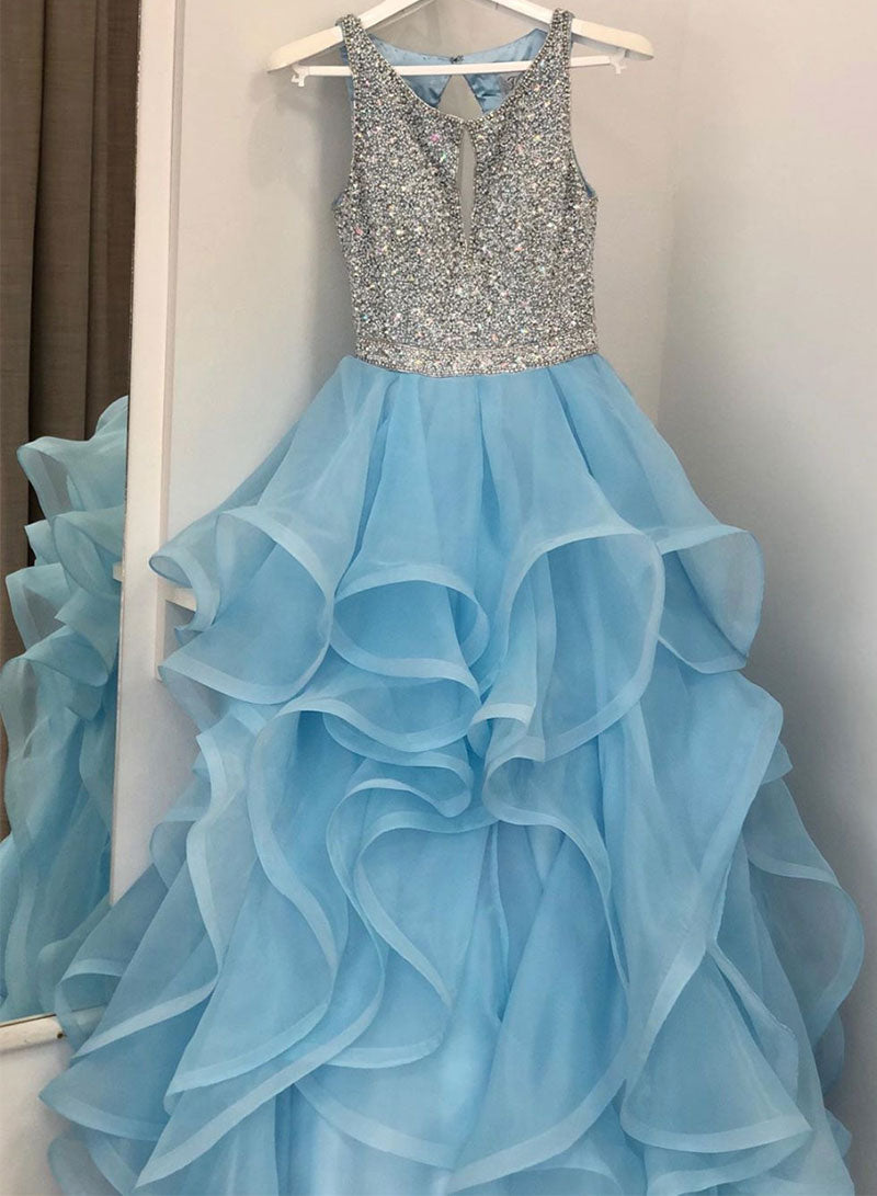 Blue tulle beads long prom dress, blue evening dress