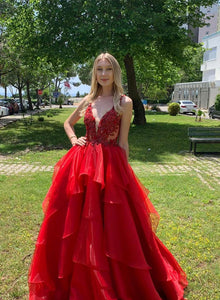 Red v neck tulle lace long prom dress, red evening dress