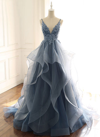 Blue v neck lace tulle long prom dress, evening dress