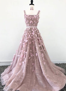 Pink lace appliqué long prom  dress, evening dress
