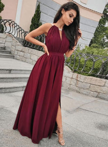Burgundy chiffon long prom dress, evening dress