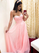 Pink A line chiffon long prom dress, evening dress