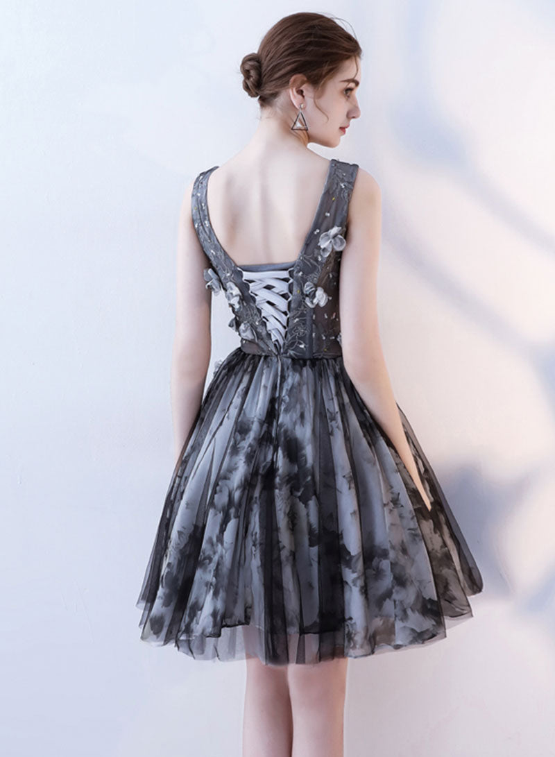 Cute black v neck lace tulle short prom dress, hoco dress