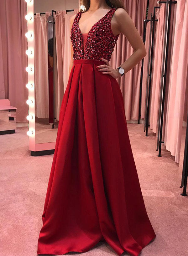 Burgundy v neck sequins long prom dress, evening dress