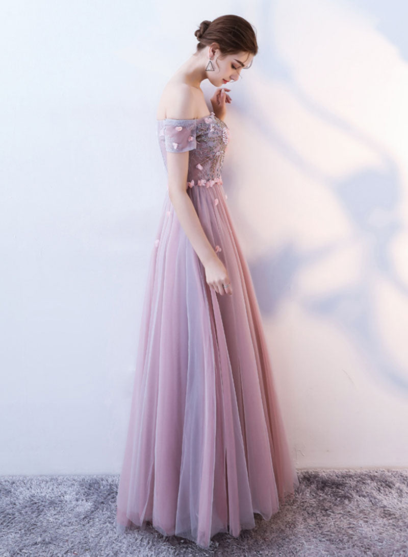 Pink lace tulle long prom dress, evening dress