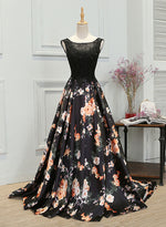Black lace floral pattern long prom dress, evening dress
