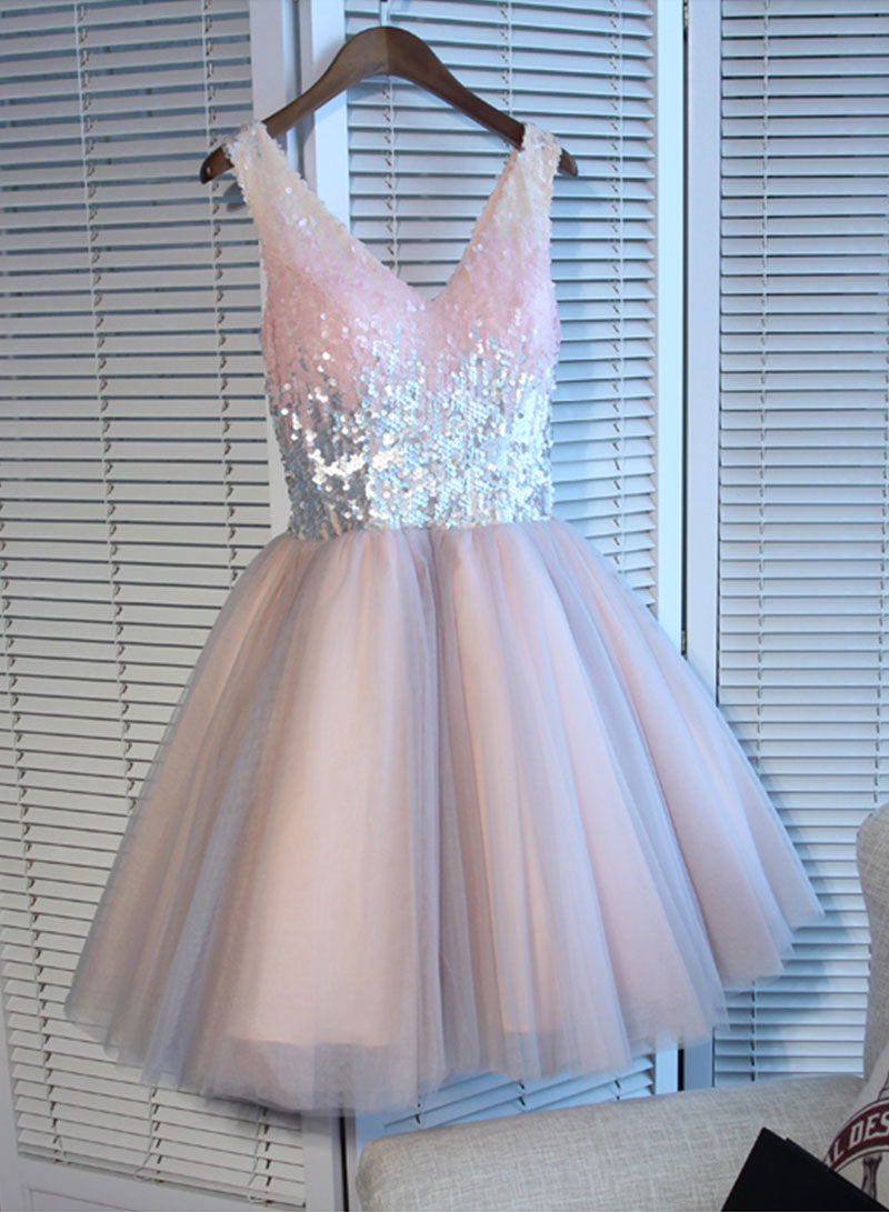 Cute pink v neck sequins short prom dress, homecoming dress