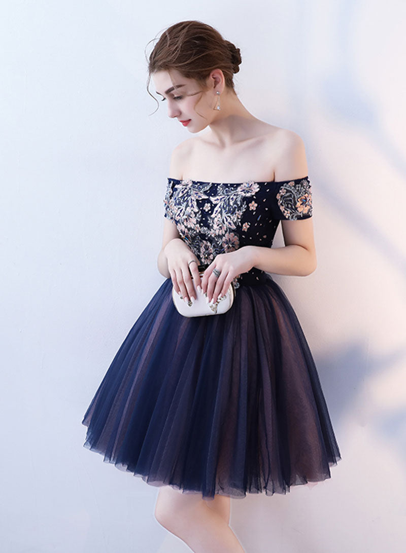 Blue tulle lace short prom dress, off shoulder evening dress