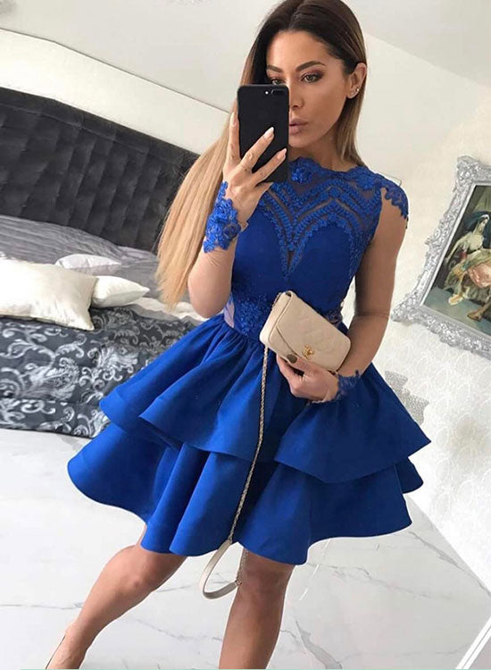 Blue lace long sleeve prom dress, homecoming dress