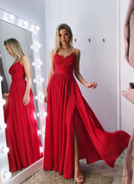 Red v neck lace long prom dress, red evening dress