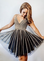 Black v neck tulle beads short prom dress, homecoming dress