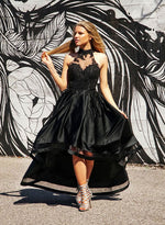 Black high low lace prom dress, lace evening dress