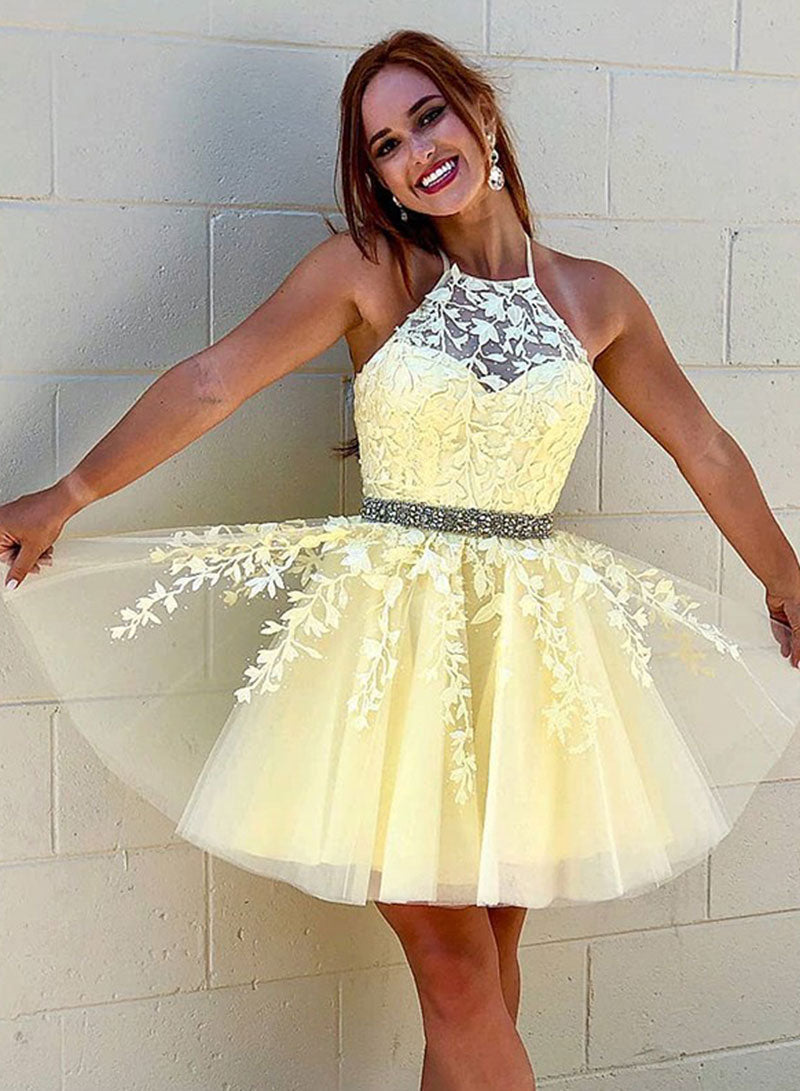 Cute lace tulle short prom dress homecoming dress