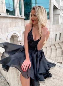 Black v neck sequins lace short prom dress, black evening dress