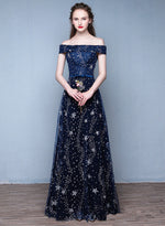 Dark blue sequins long prom dress, evening dress