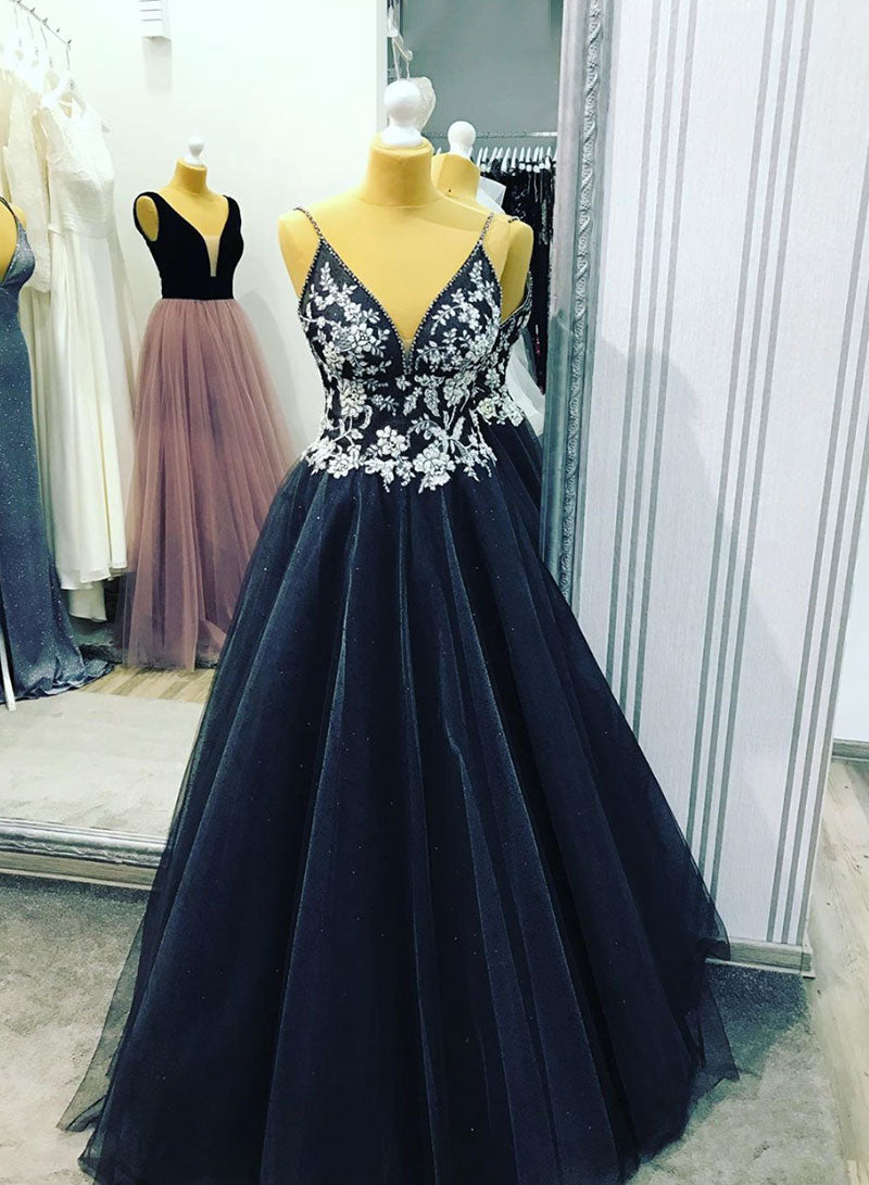 Black v neck tulle lace long prom dress, evening dress
