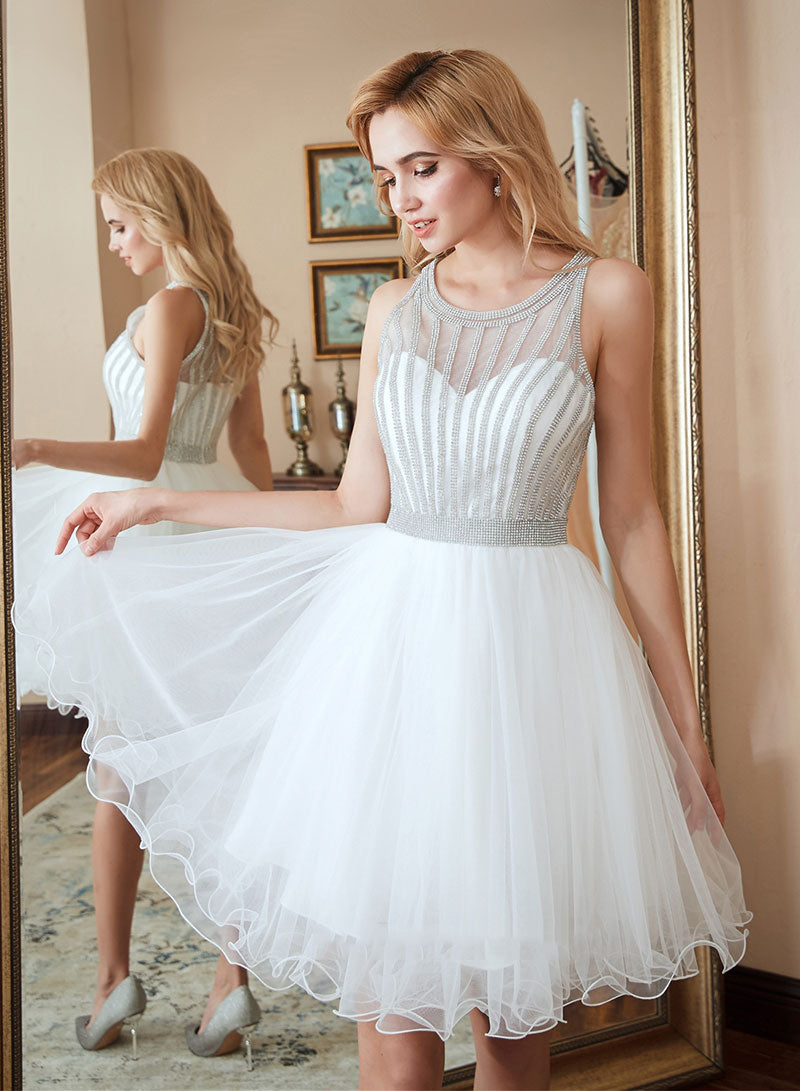 White round neck tulle beads short prom dress, homecoming dress