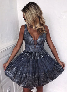 Gray v neck tulle sequins short prom dress, homecoming dress