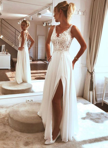 White lace tulle long prom dress, white evening dress