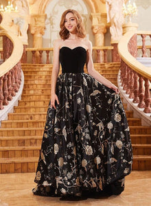 Stylish sweetheart neck velvet long prom dress, evening dress