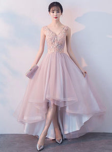 Pink v neck tulle lace prom dress, homecoming dress