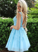 Blue v neck tulle lace short prom dress, homecoming dress