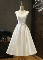 Cute white v neck short prom dress, homecoming dress