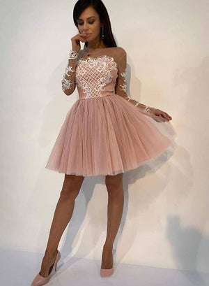 Pink tulle lace short prom dress, long sleeve evening dress