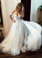 White tulle lace long prom dress, off shoulder evening dress