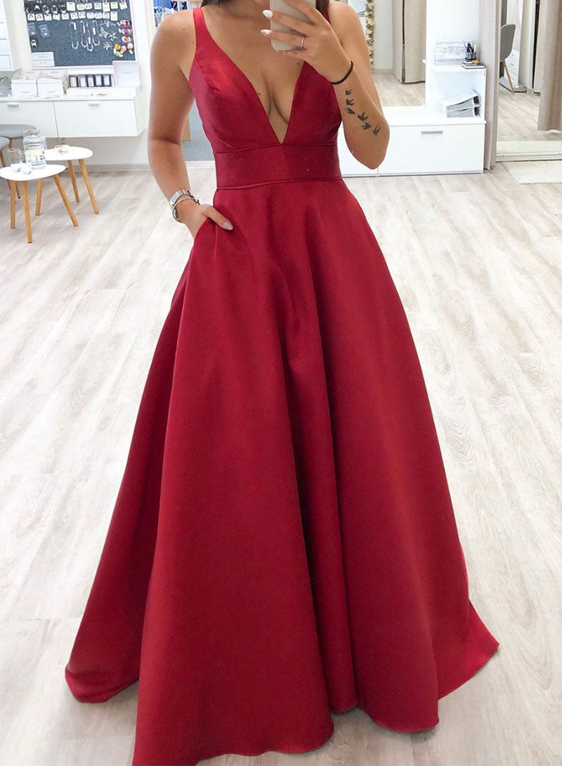 Simple red v neck satin long prom dress, evening dress