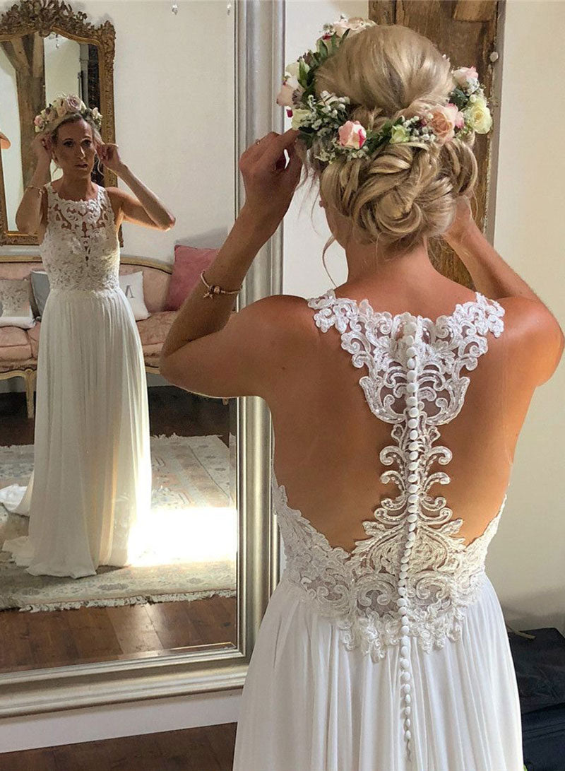 Ivory chiffon lace long prom dress, wedding dress