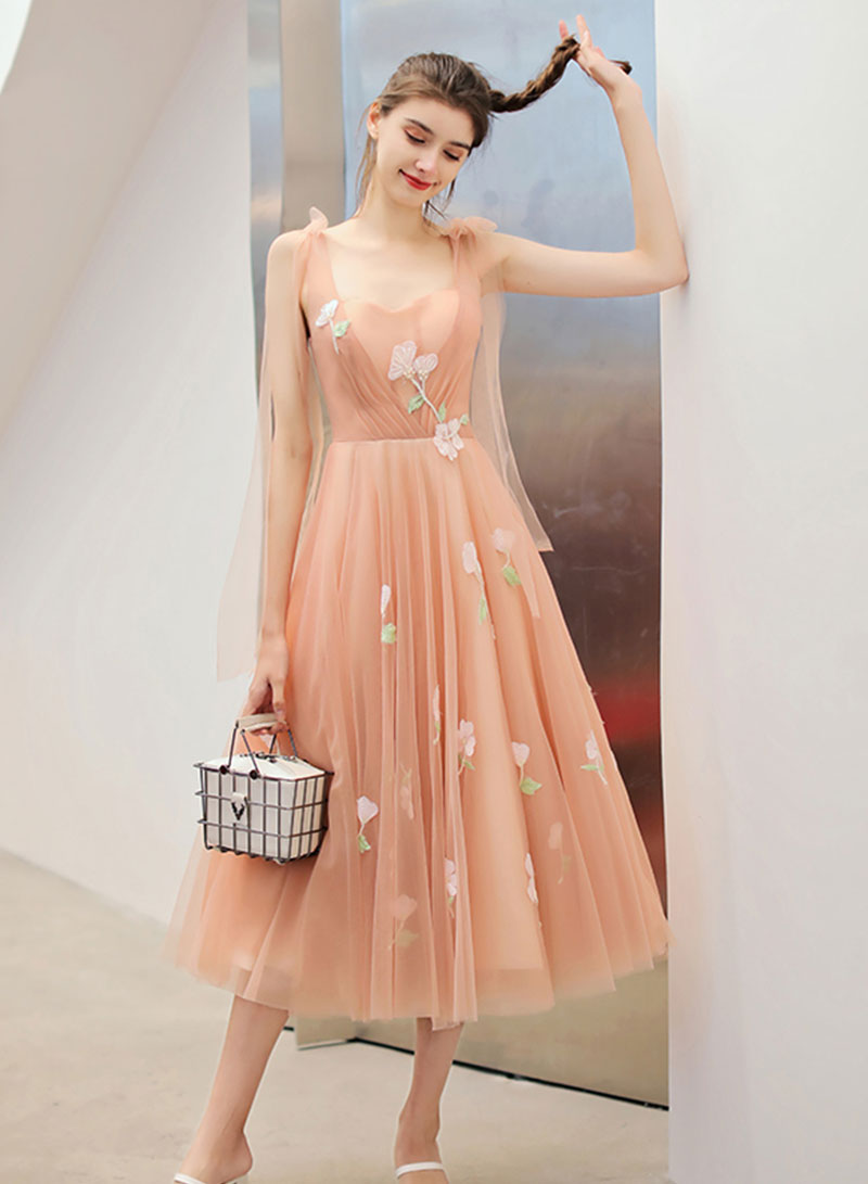 Cute tulle applique short prom dress, homecoming dress