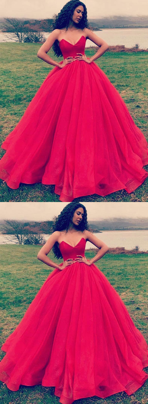 Simple red tulle long prom dress, red evening dress