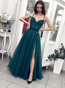 Green tulle beads long prom dress, green evening dress