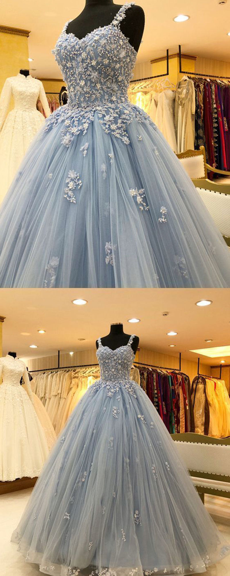 Blue tulle lace long prom gown, lace evening dress