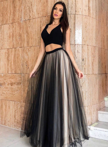 Black tulle two pieces evening dress, evening dress